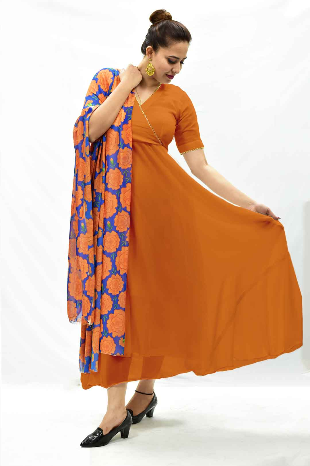 Georgette Anarkali Kurta – Narangi