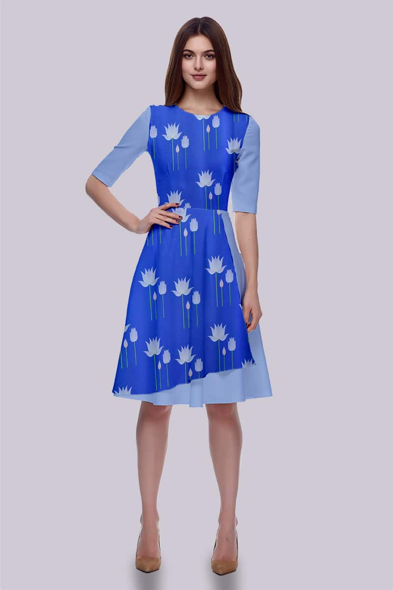 Georgette Fit and Flare Dress – Water Lily