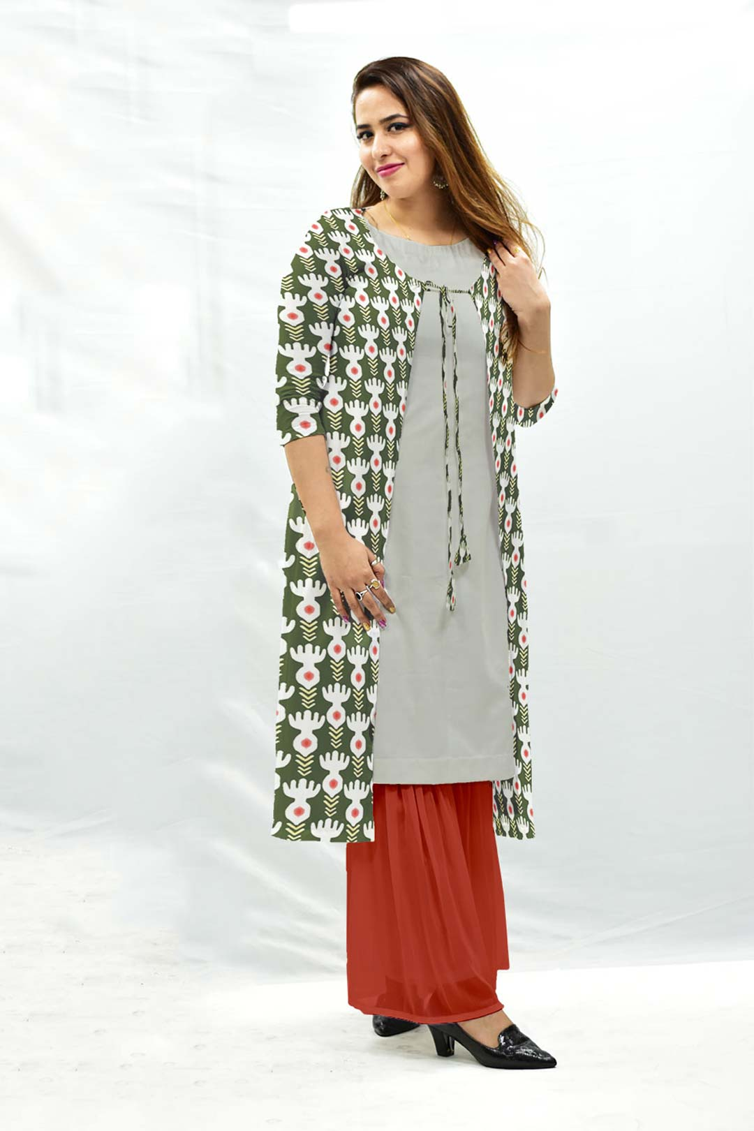 Georgette Sharara Suit with Shrug – Bind (Green)