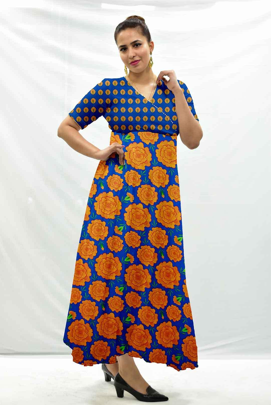 Georgette anarkali kurta – Mythical Marigold – Blue