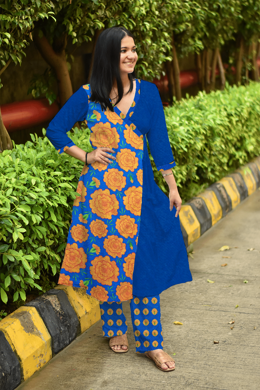 Georgette Angrakha Suit – Mythical Marigold – Blue