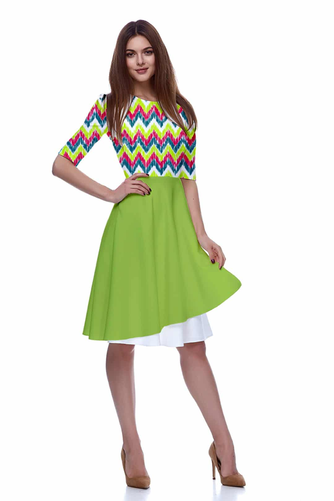 Georgette Fit and Flare Dress – Zig Zag