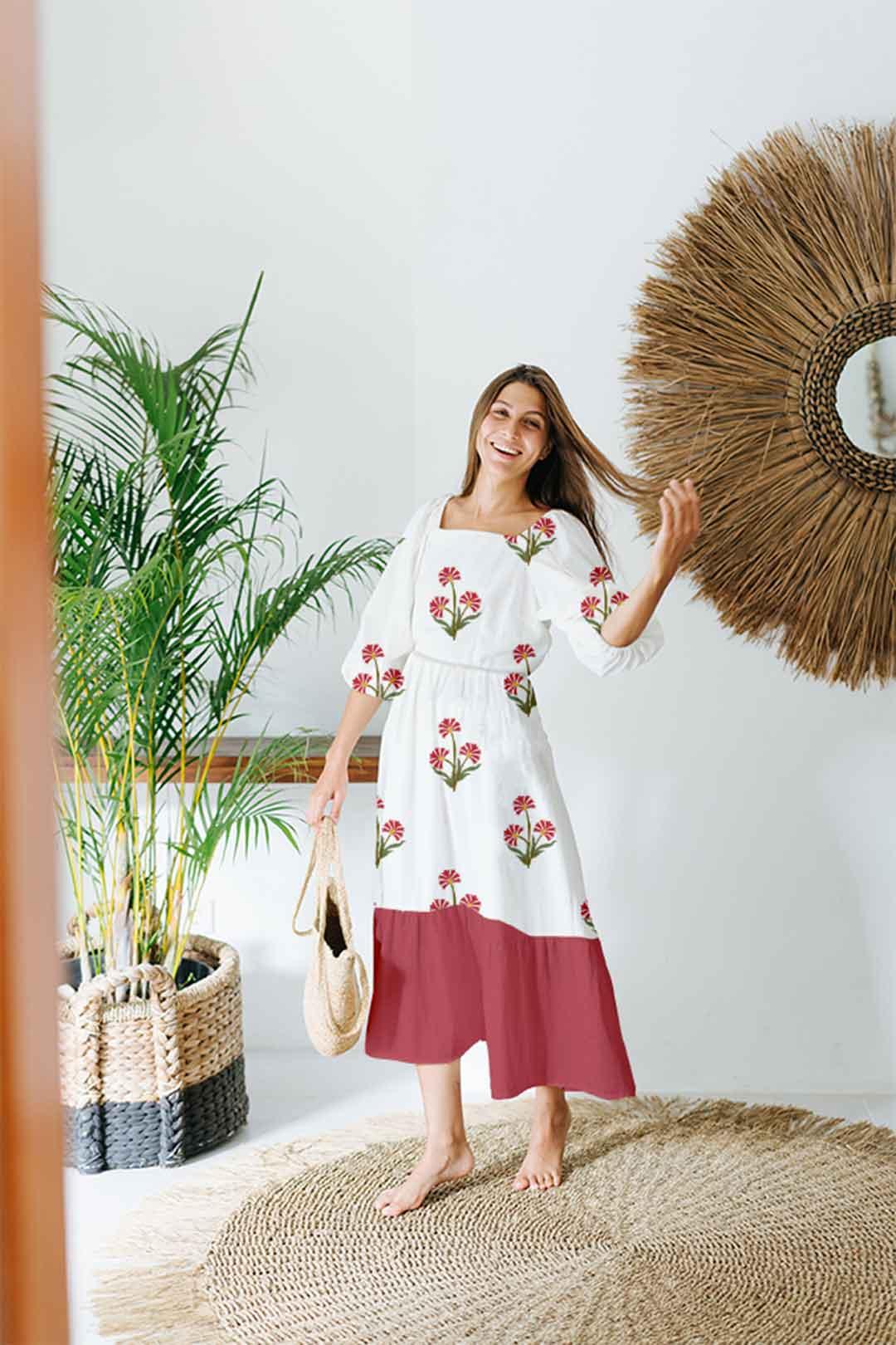 Cotton Tiered Dress – Guldasta