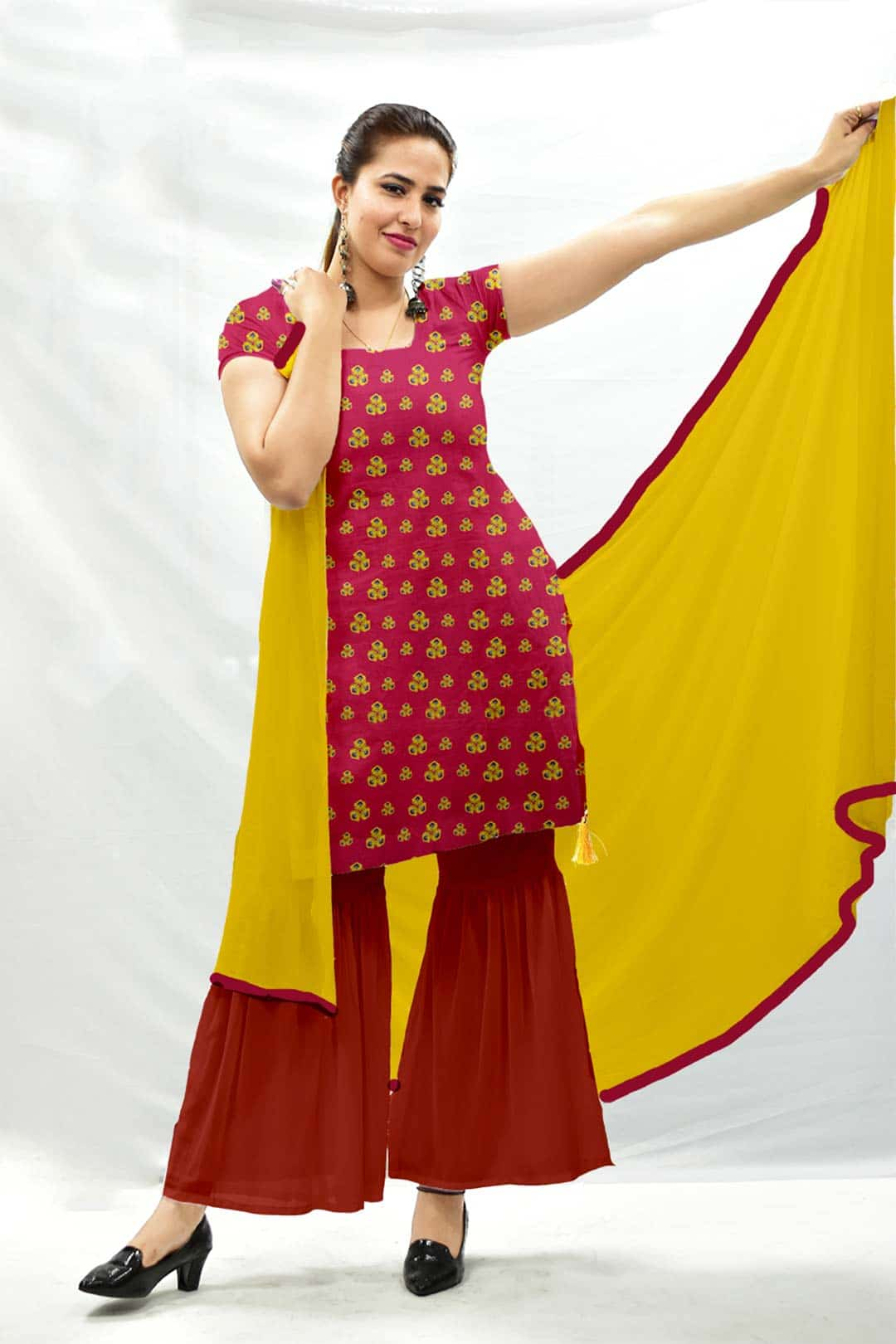 Georgette Sharara Suit with Dupatta – Spinach