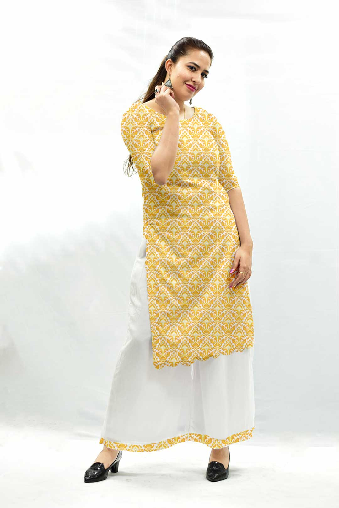 Georgette Palazzo Suit – Mustard