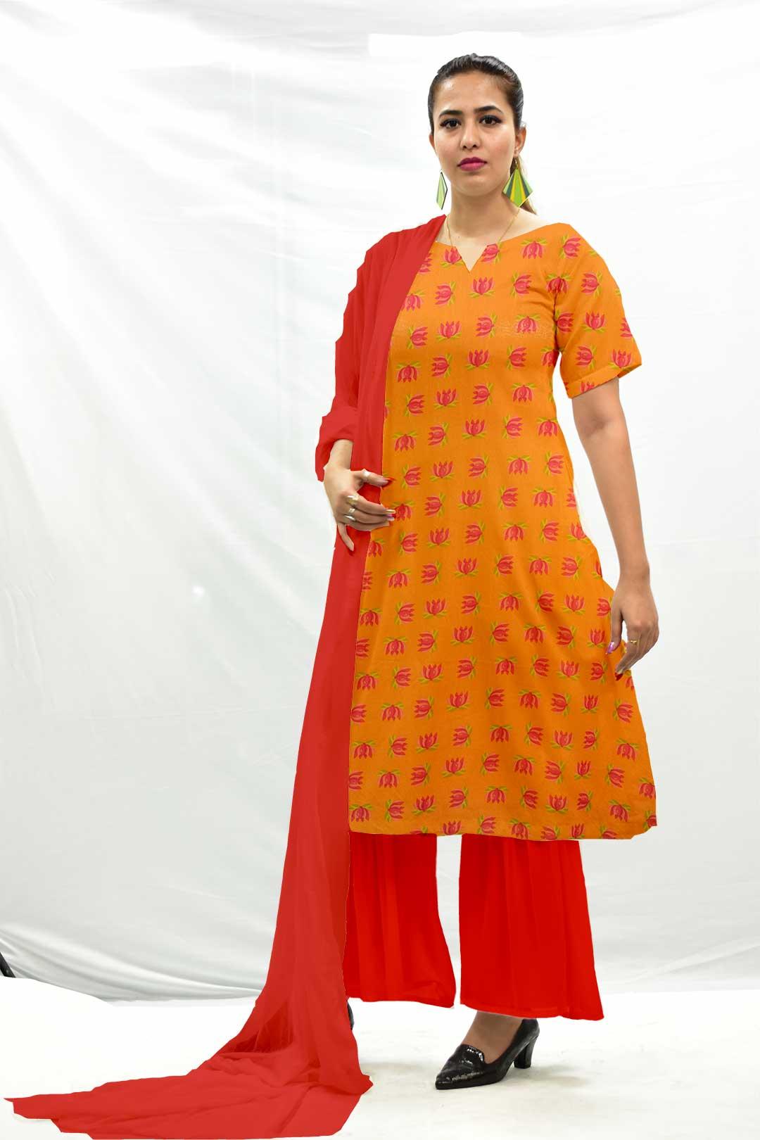 Georgette Sharara Suit with Dupatta – Tangerine