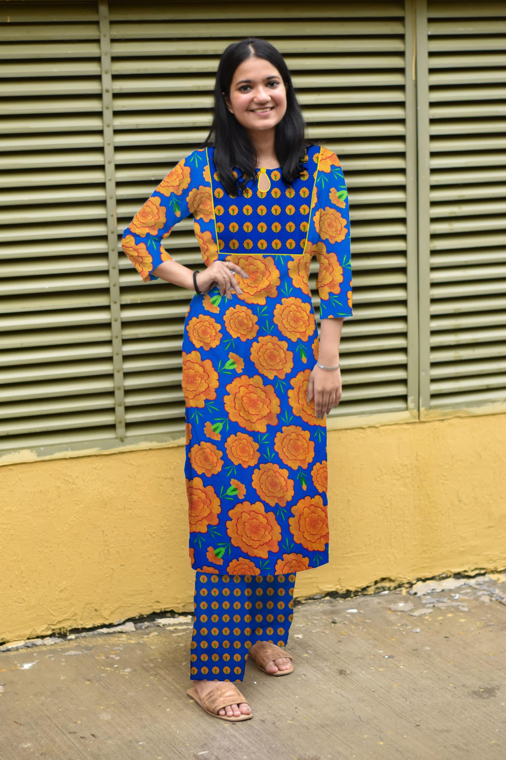 Georgette Pant Suit – Mythical Marigold – Blue