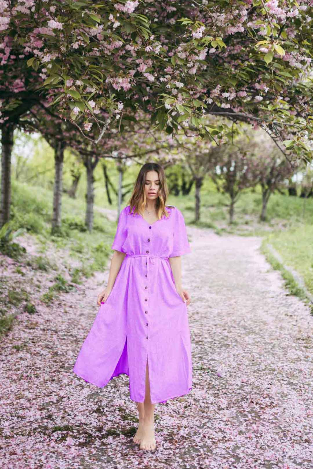 Cotton A line dress – Solid (Lilac)