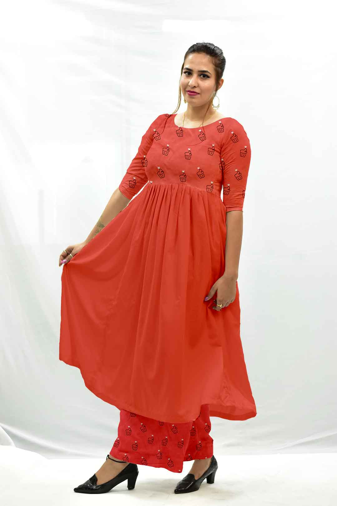 Cotton Frock Style Suit – Cupcake ( crimson red)