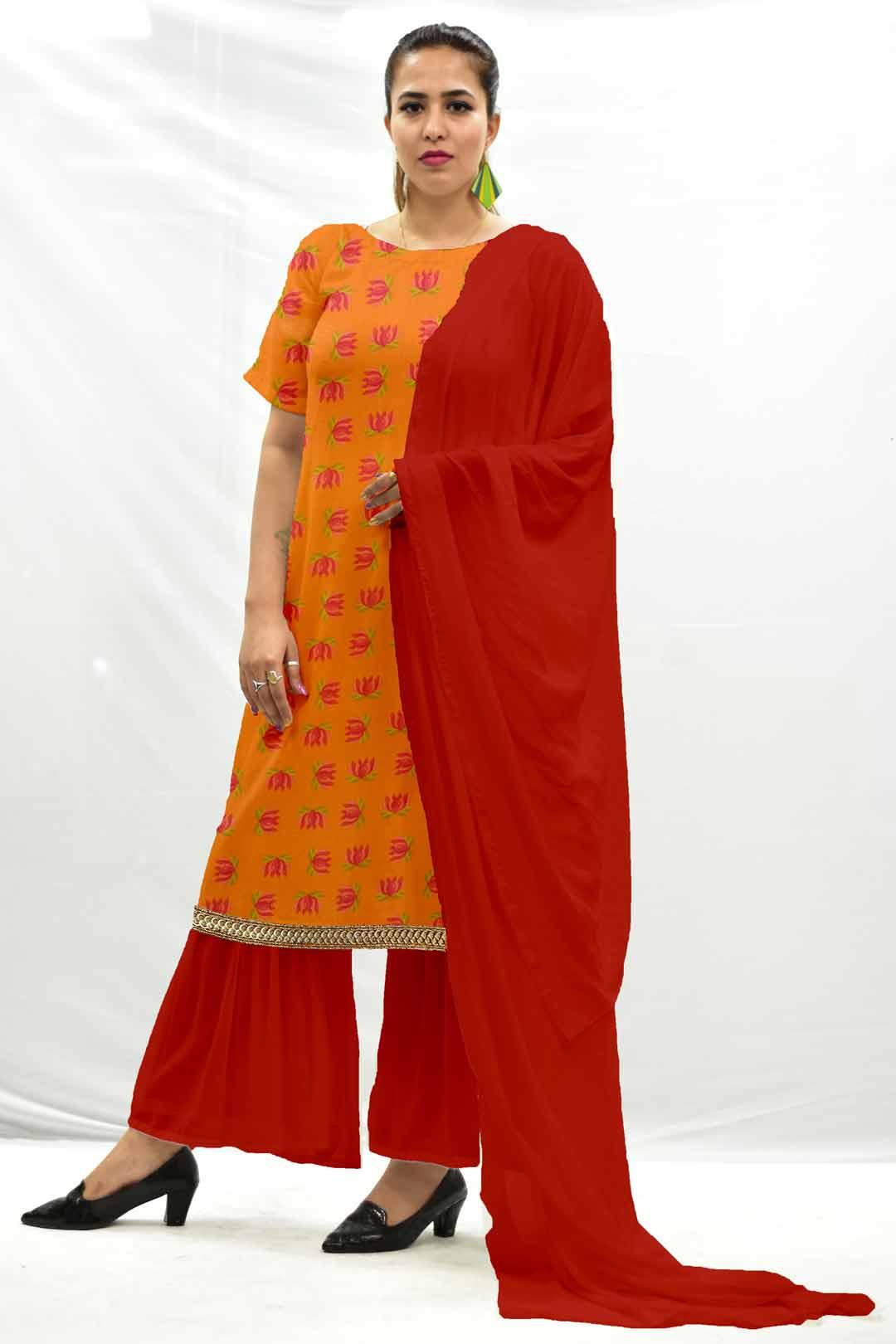 Georgette Sharara Suit with dupatta- Tangerine