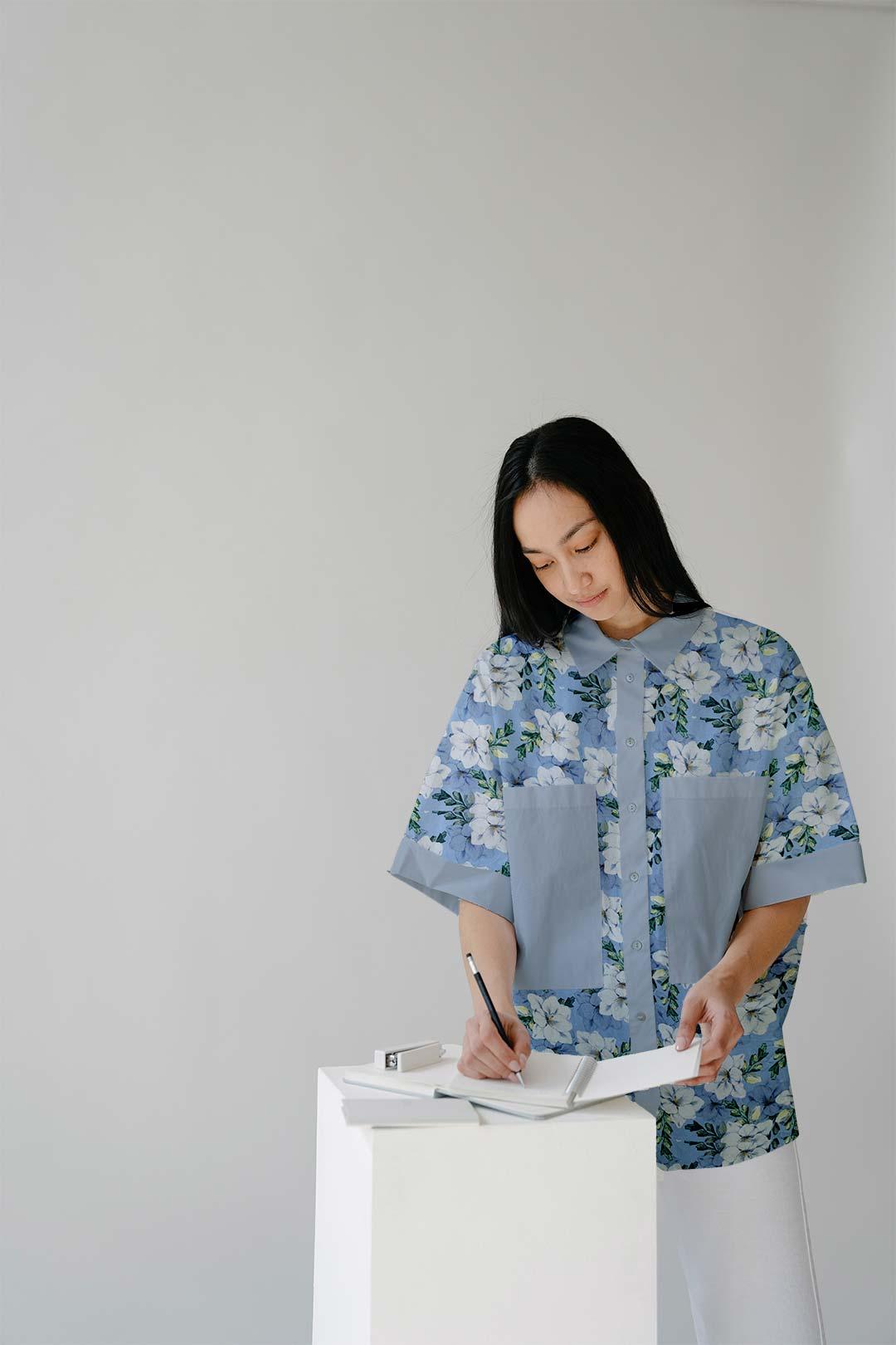 Cotton Shirt Top – Ocean Flower