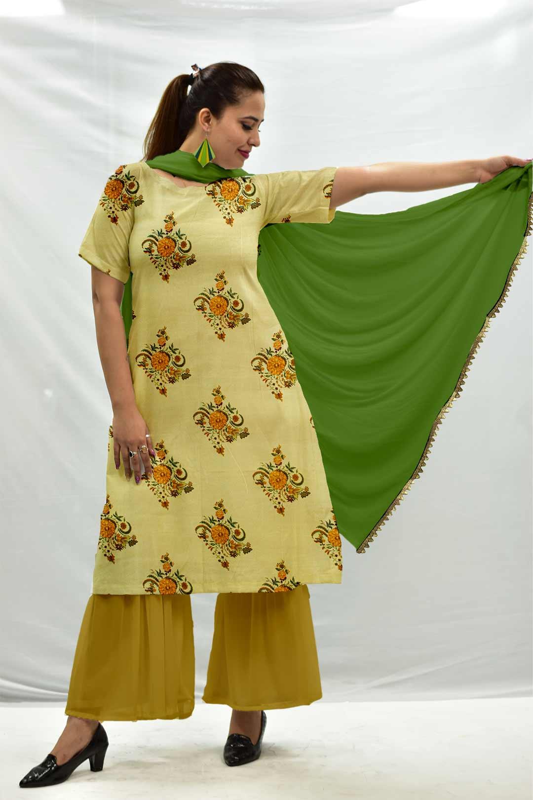 Cotton Sharara Suit with Dupatta – Genda Fool