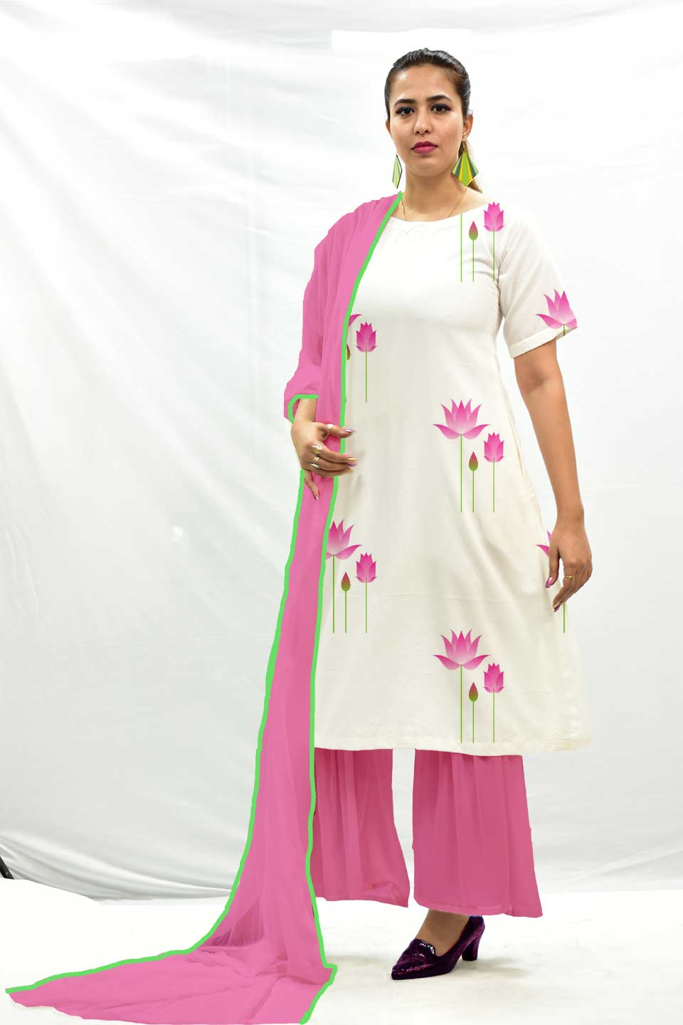 Georgette Sharara Suit with Dupatta – Indian Lotus