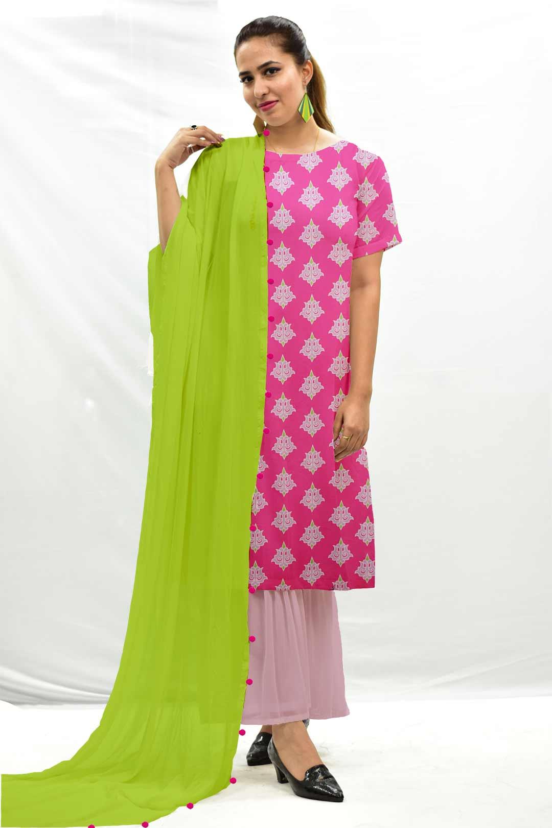 Georgette Sharara Suit with Dupatta – Maharani