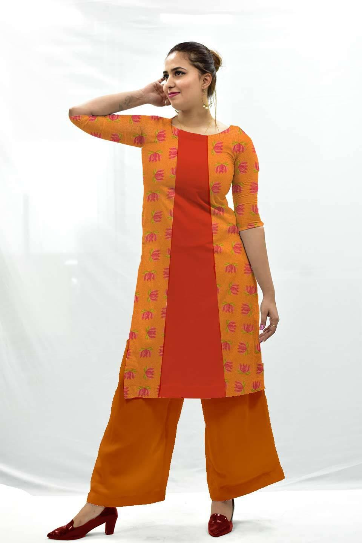 Cotton Palazzo Suit – Tangerine