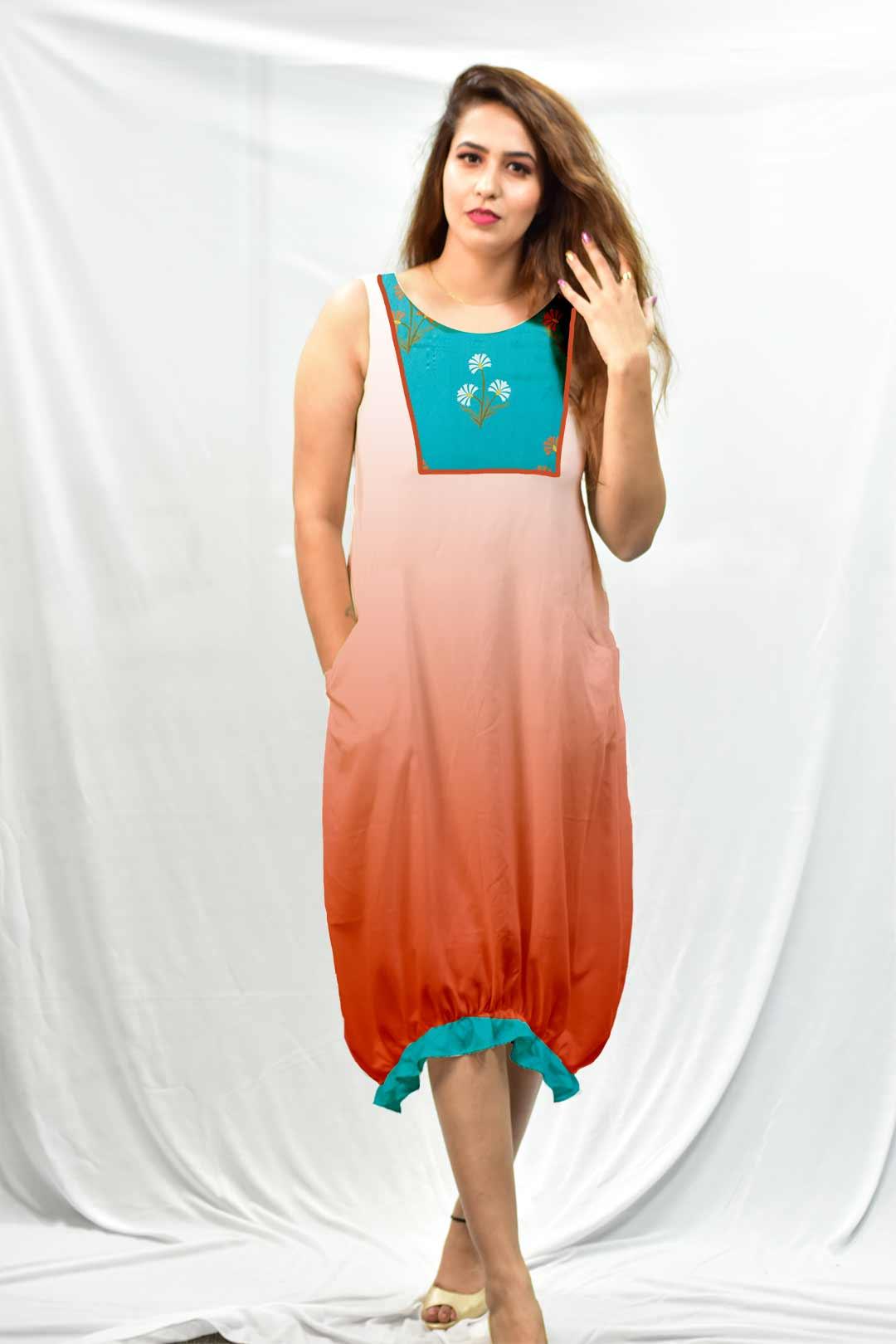 Cotton Ruffle Dress – Aqua