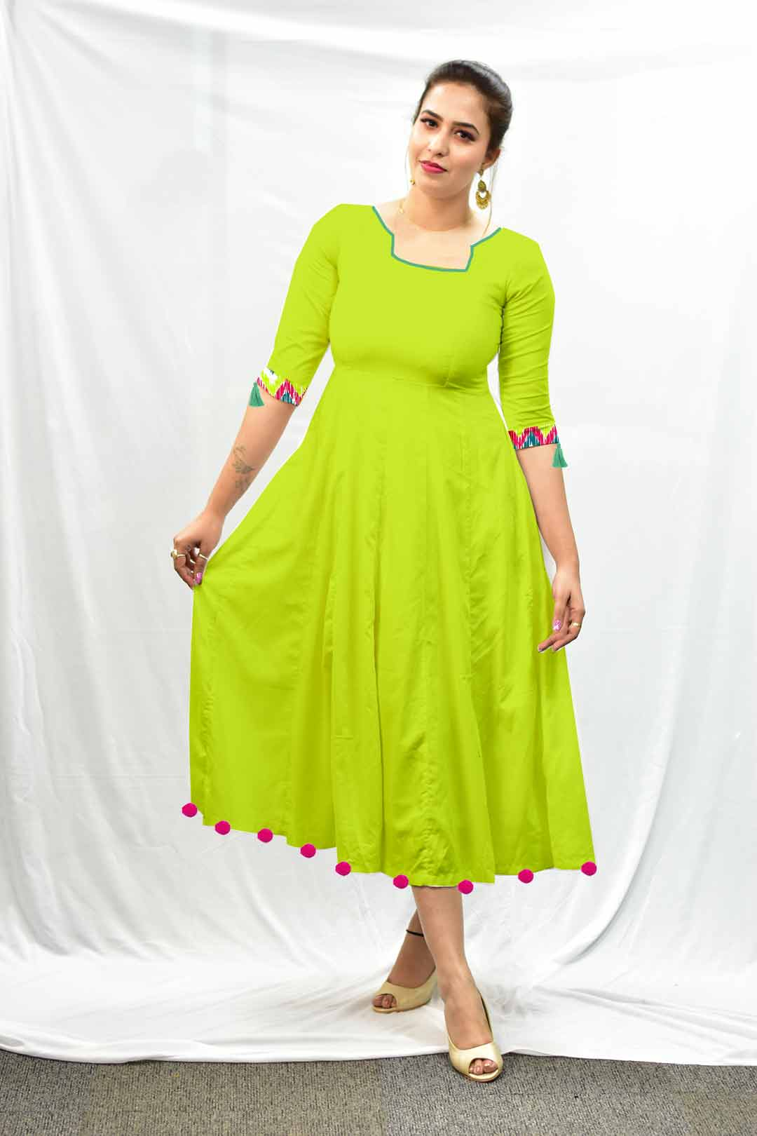 Cotton Frock Style Dress – Solid
