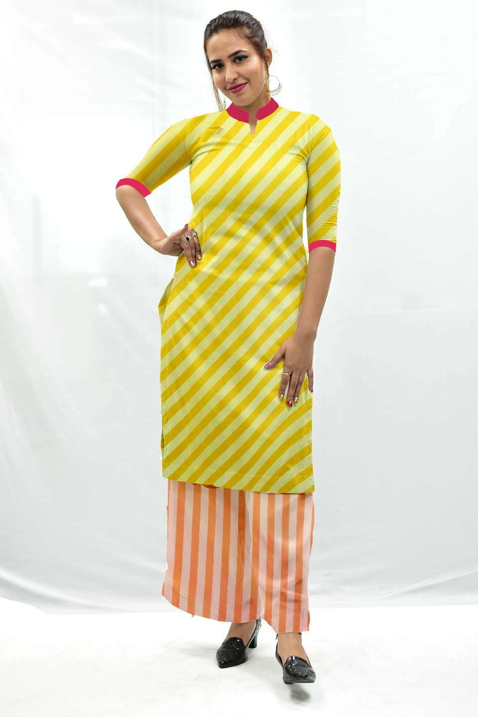 Georgette Palazzo Suit – Yellow Strips