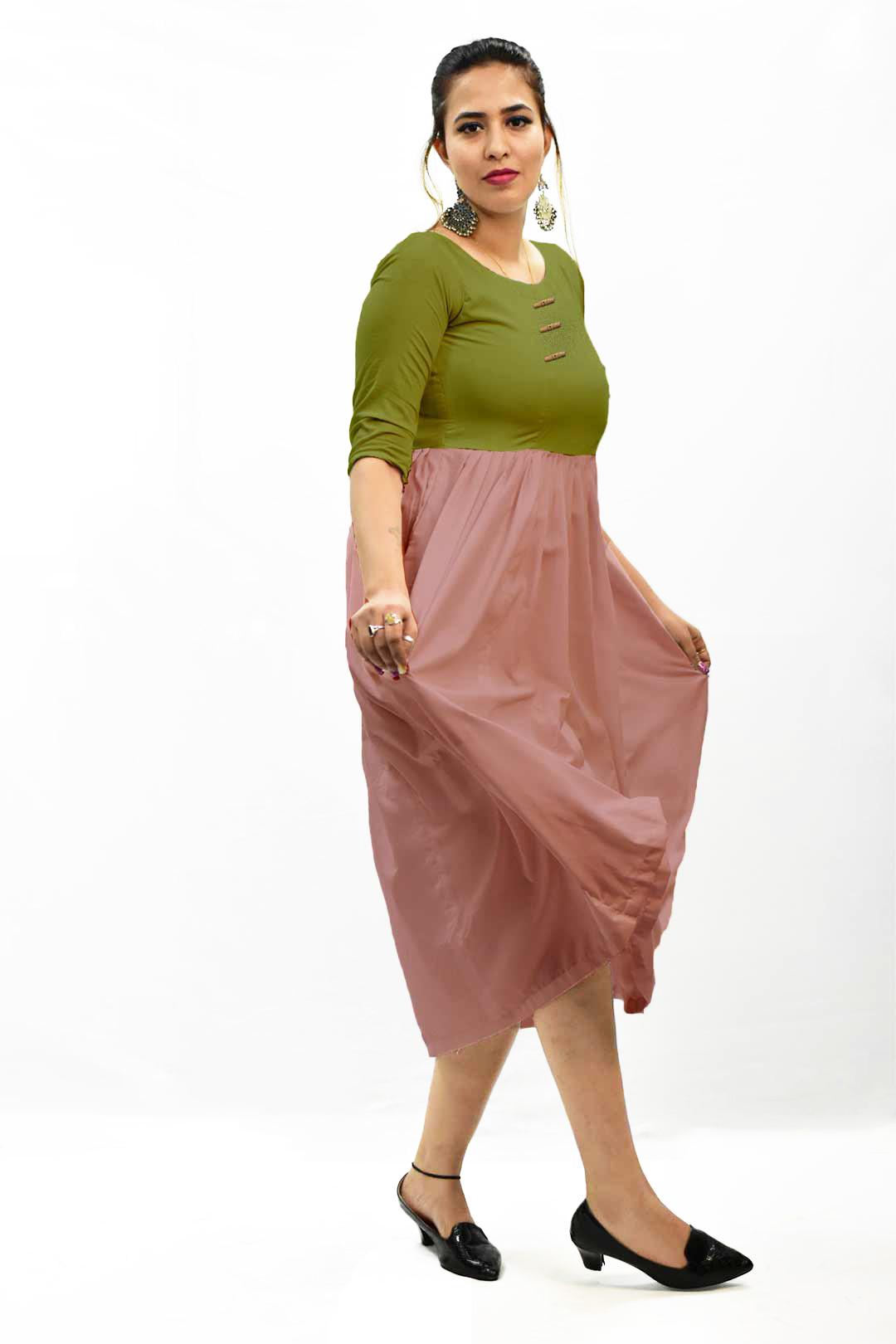 Georgette Frock Style Dress – Solid