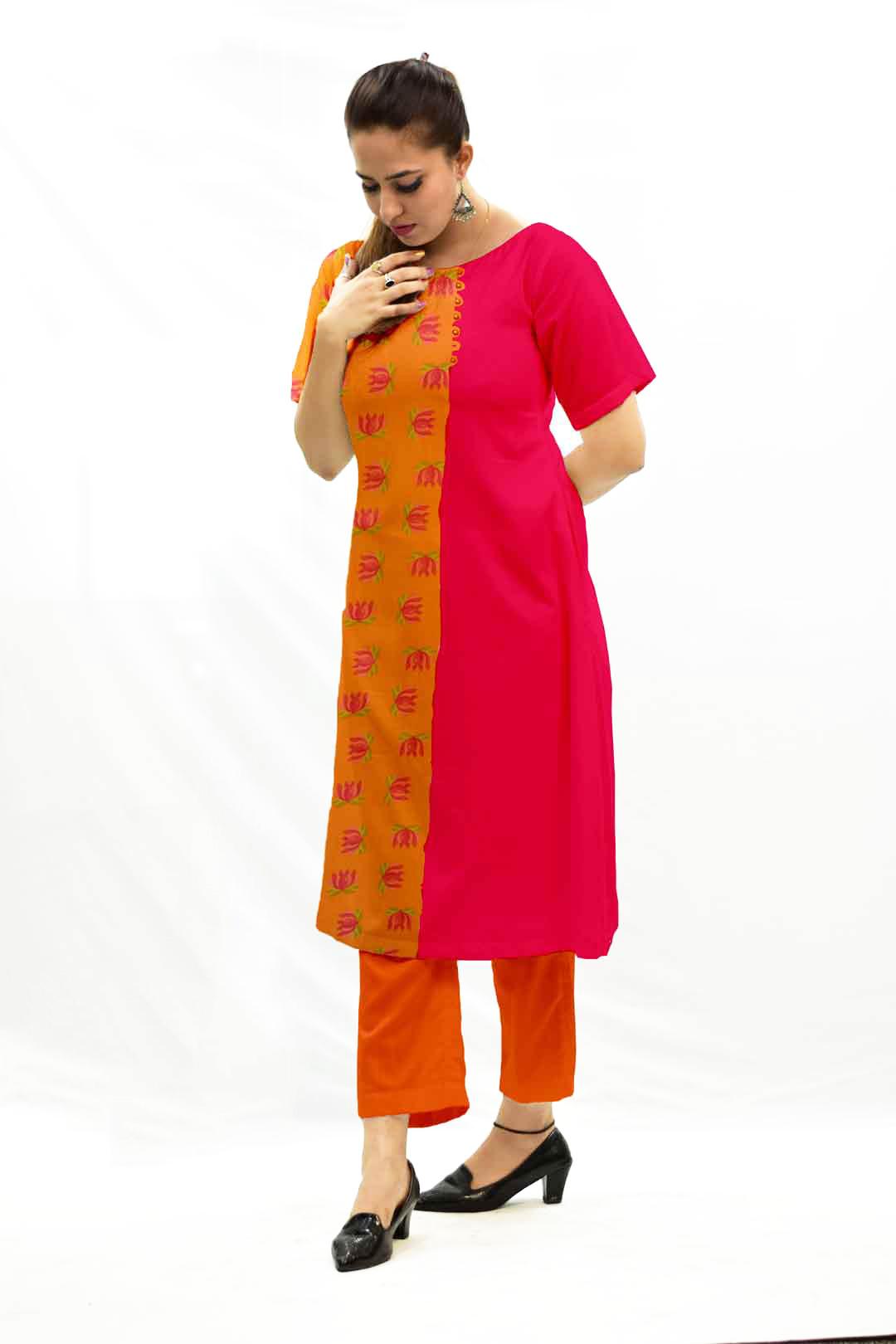 Georgette Pant Suit – Tangerine