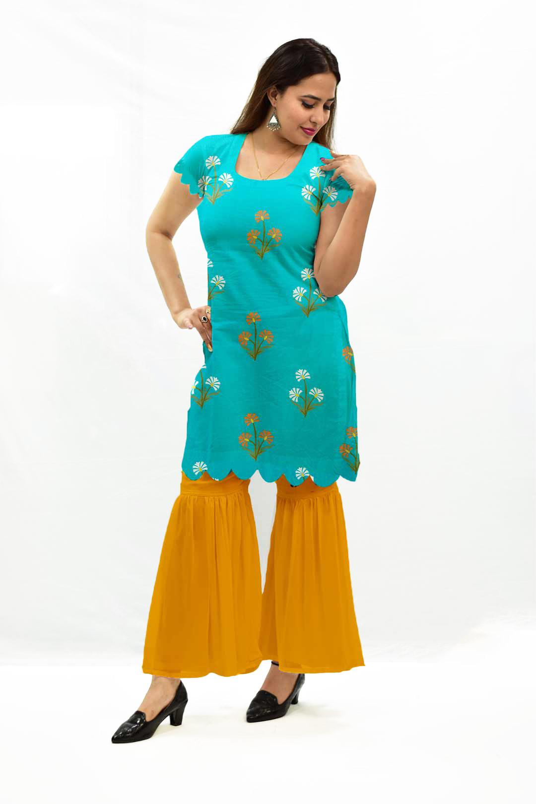 Georgette Sharara Suit – Aqua