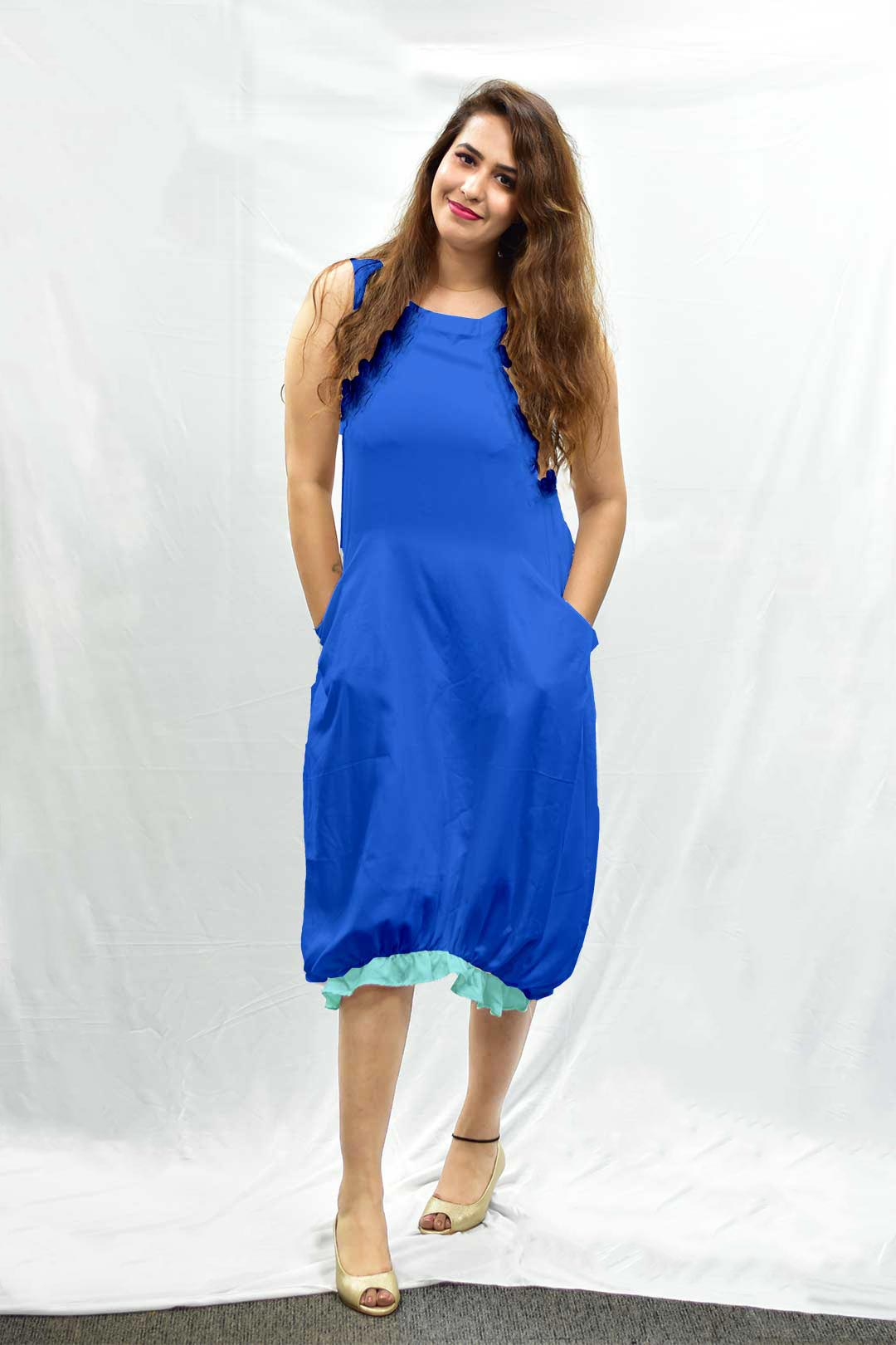 Cotton Ruffle Dress – Blue