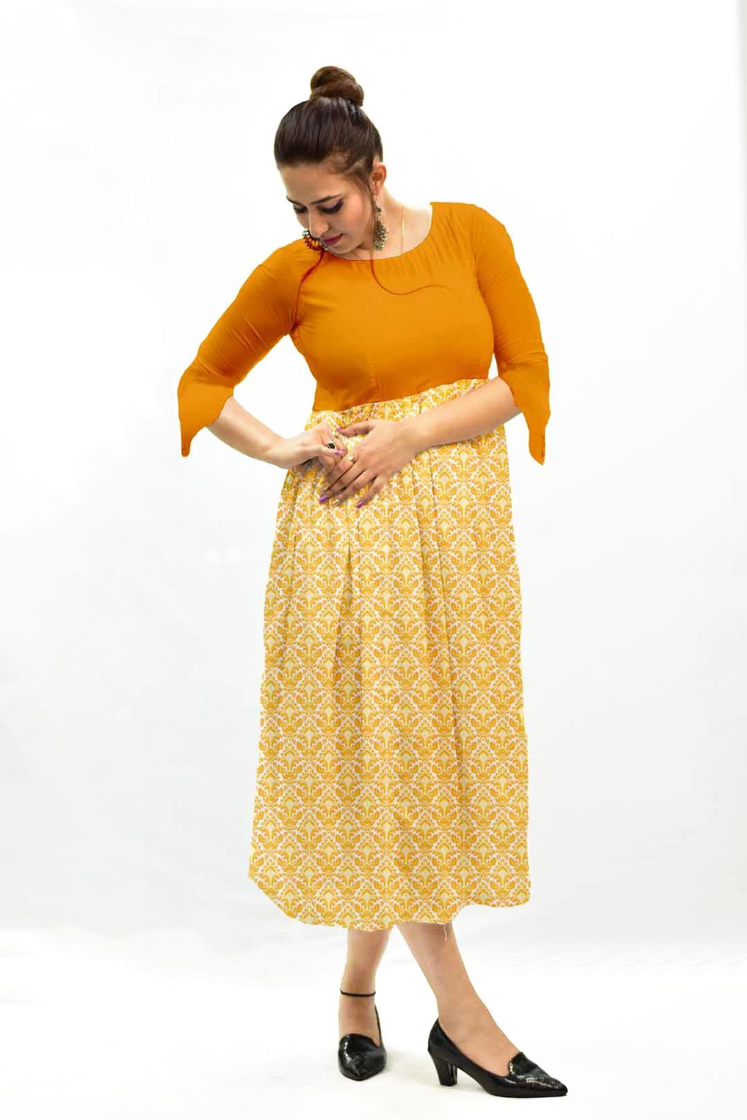 Georgette Frock Style Dress – Mustard