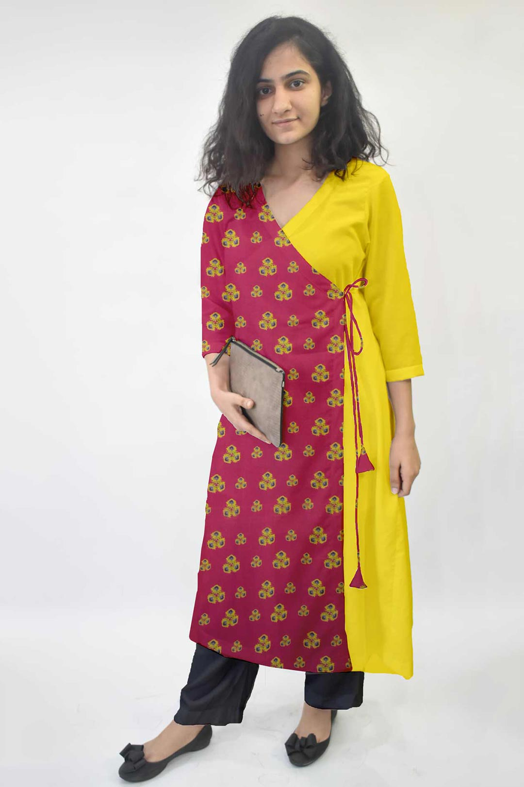 Cotton Angrakha Suit – Pink Spinanch