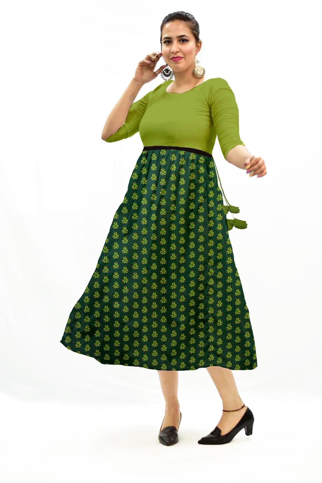 Georgette Frock Style Dress – Spinach