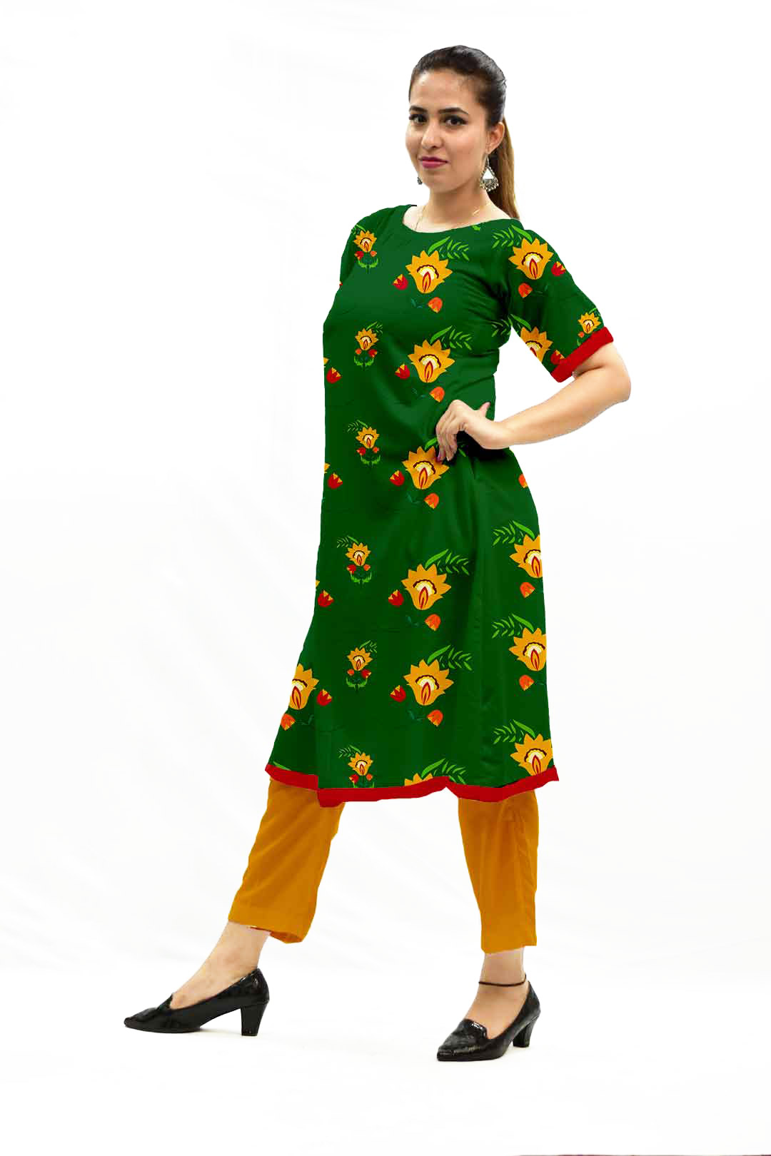 Cotton Pant Suit – Night Bloom (Green)