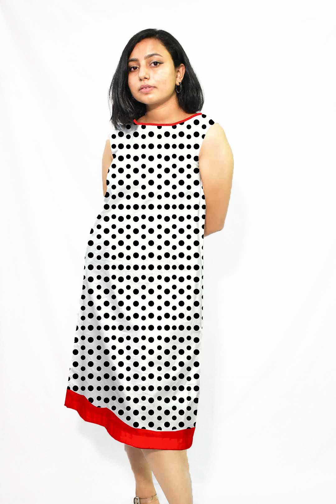 Cotton A line dress – Dots