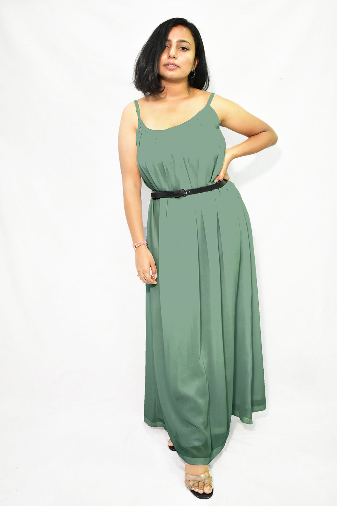 Georgette Gathered Dress – Solid (Bay Green)