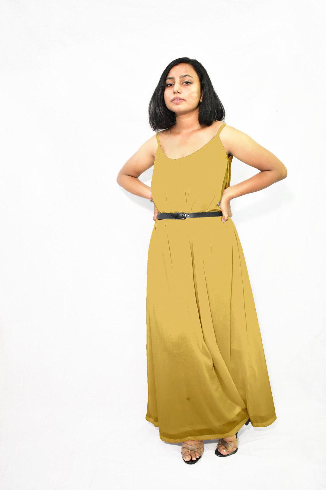 Georgette Gathered Dress – Solid