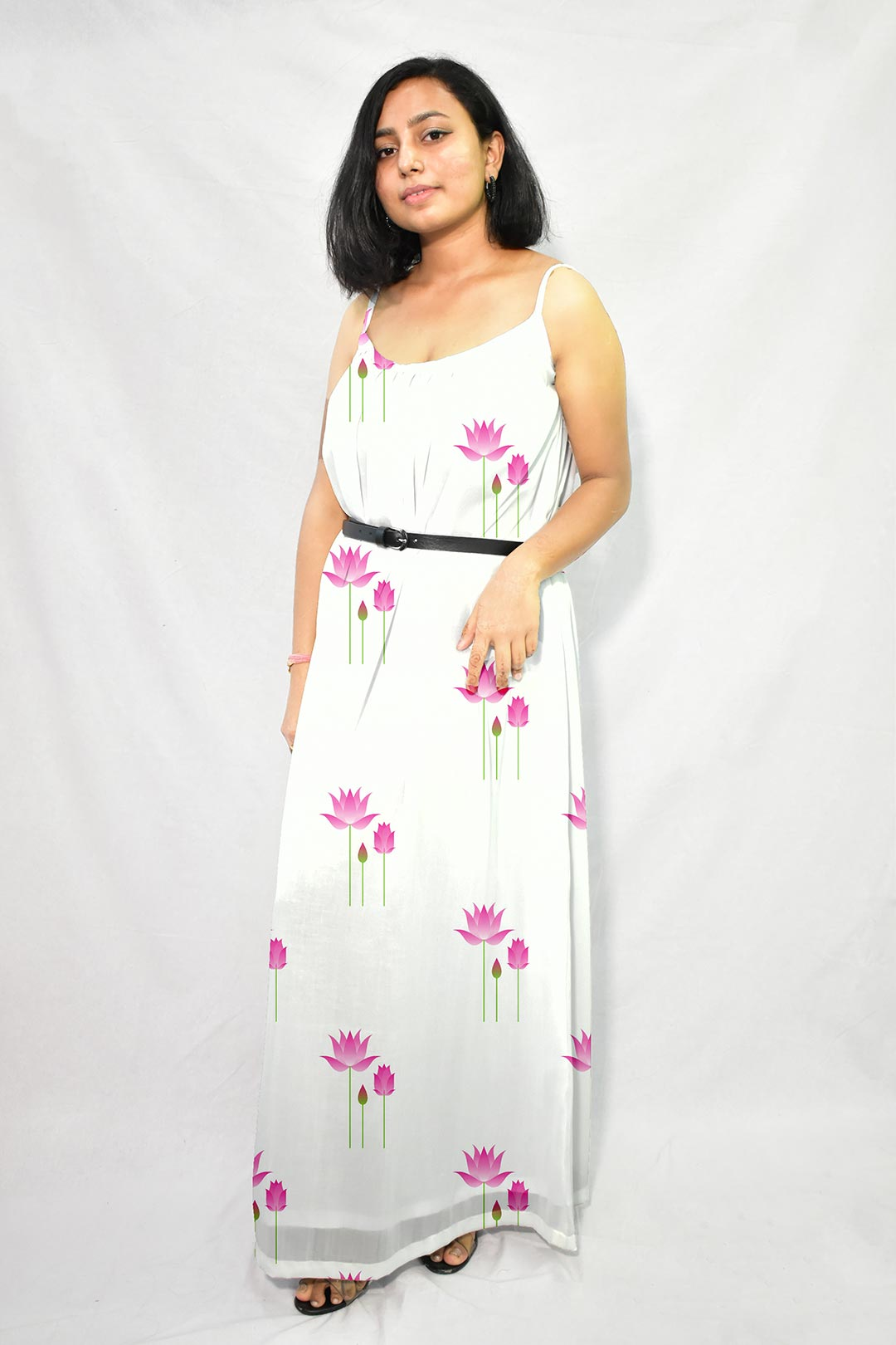 Georgette Gathered Dress – Indian Lotus