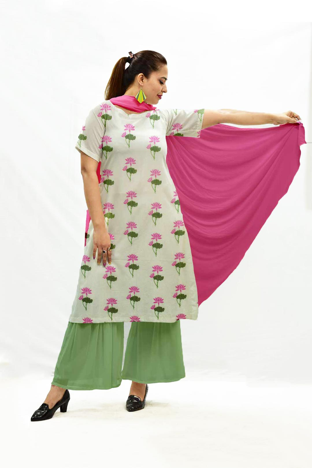 Georgette Sharara Suit with Dupatta – Emblematic Lotus