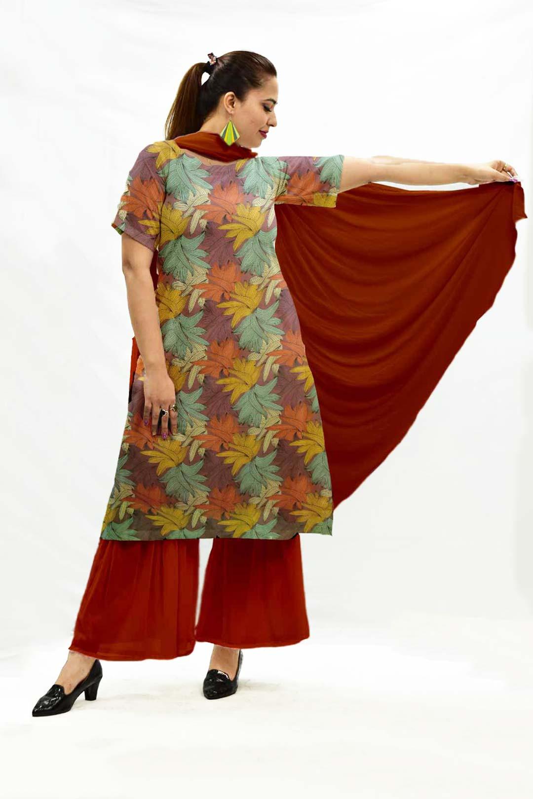 Georgette Sharara Suit with Dupatta – Flora