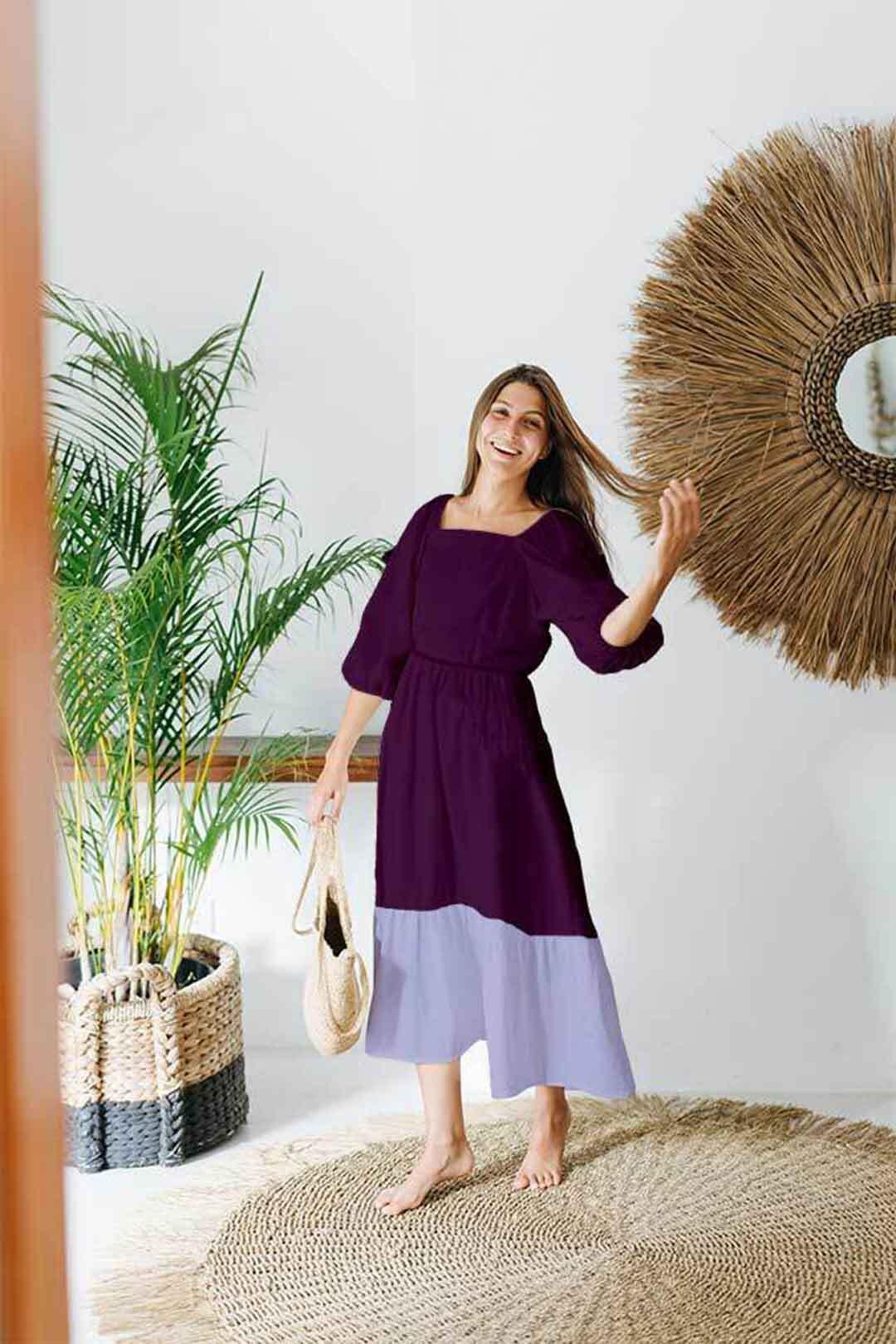 Cotton Tier Dress – Purple