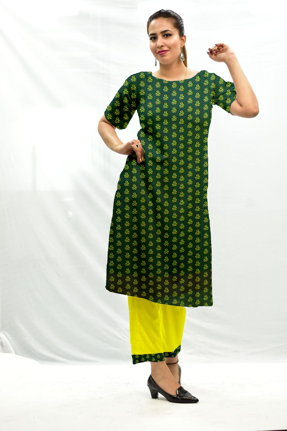 Georgette Palazzo Suit – Spinach