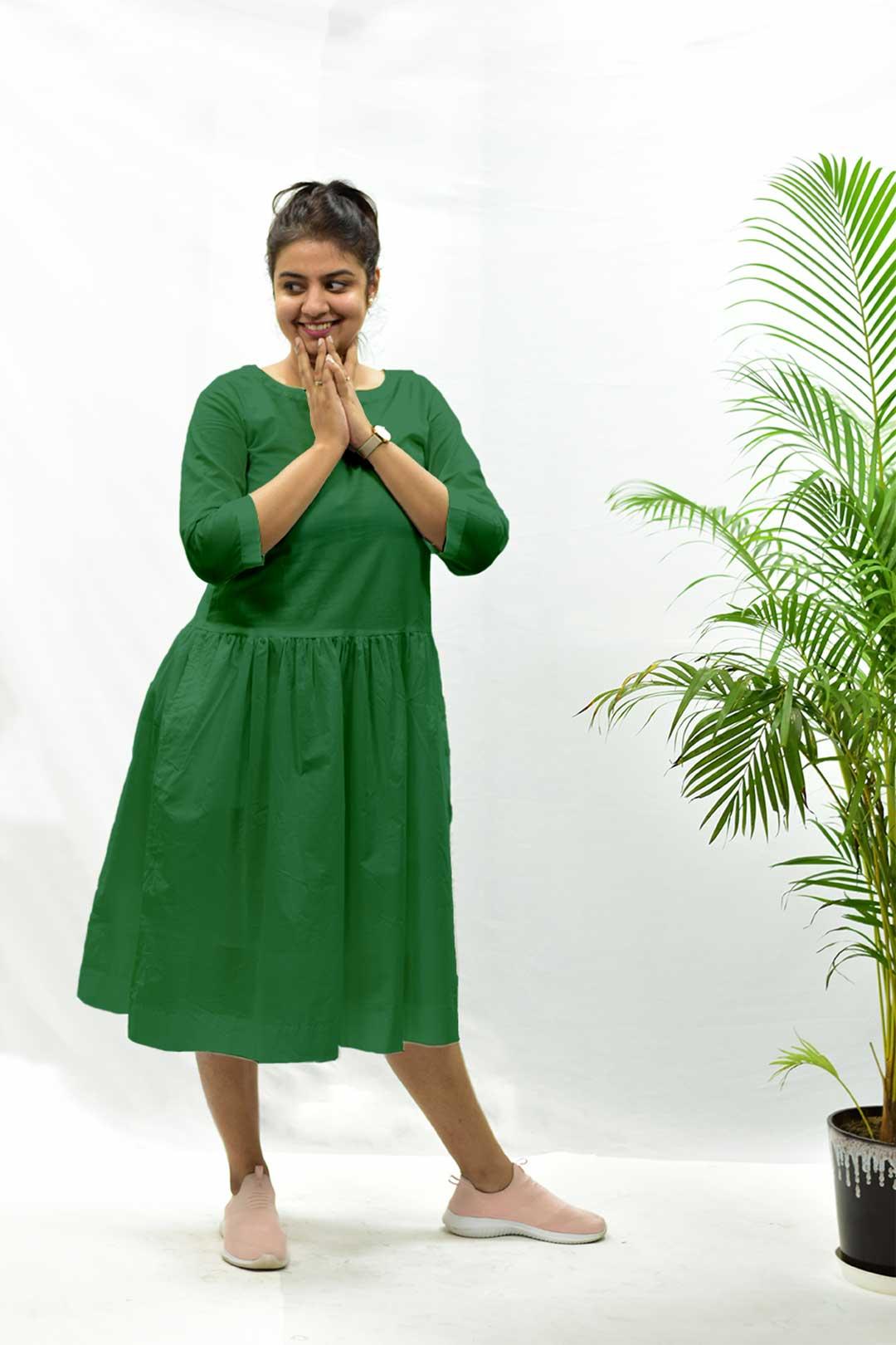 Cotton Cambric Dropped Waist Dress – Avocado