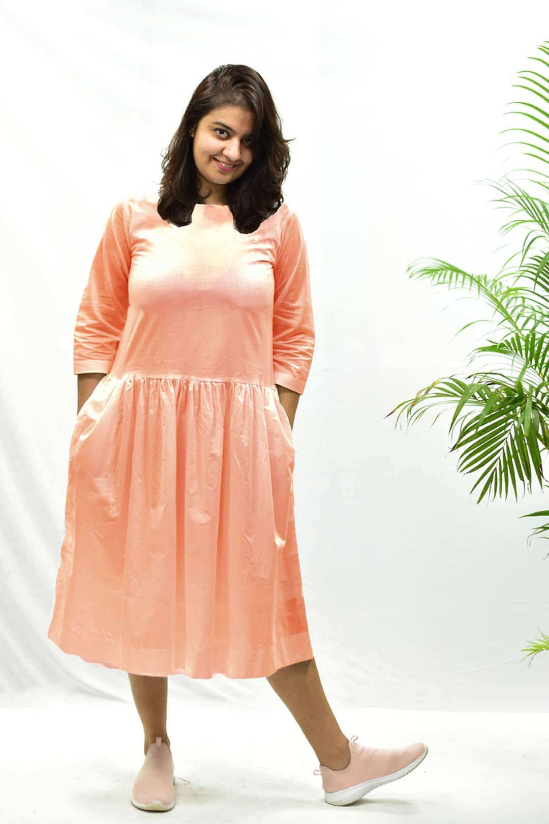 Cotton – Cambric Dropped waist – Peaches