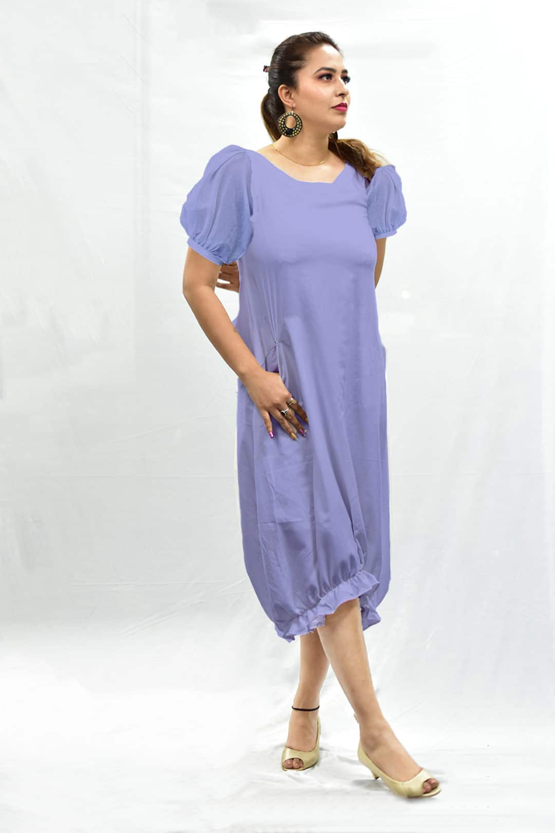 Cotton Ruffled Dress – Lavender