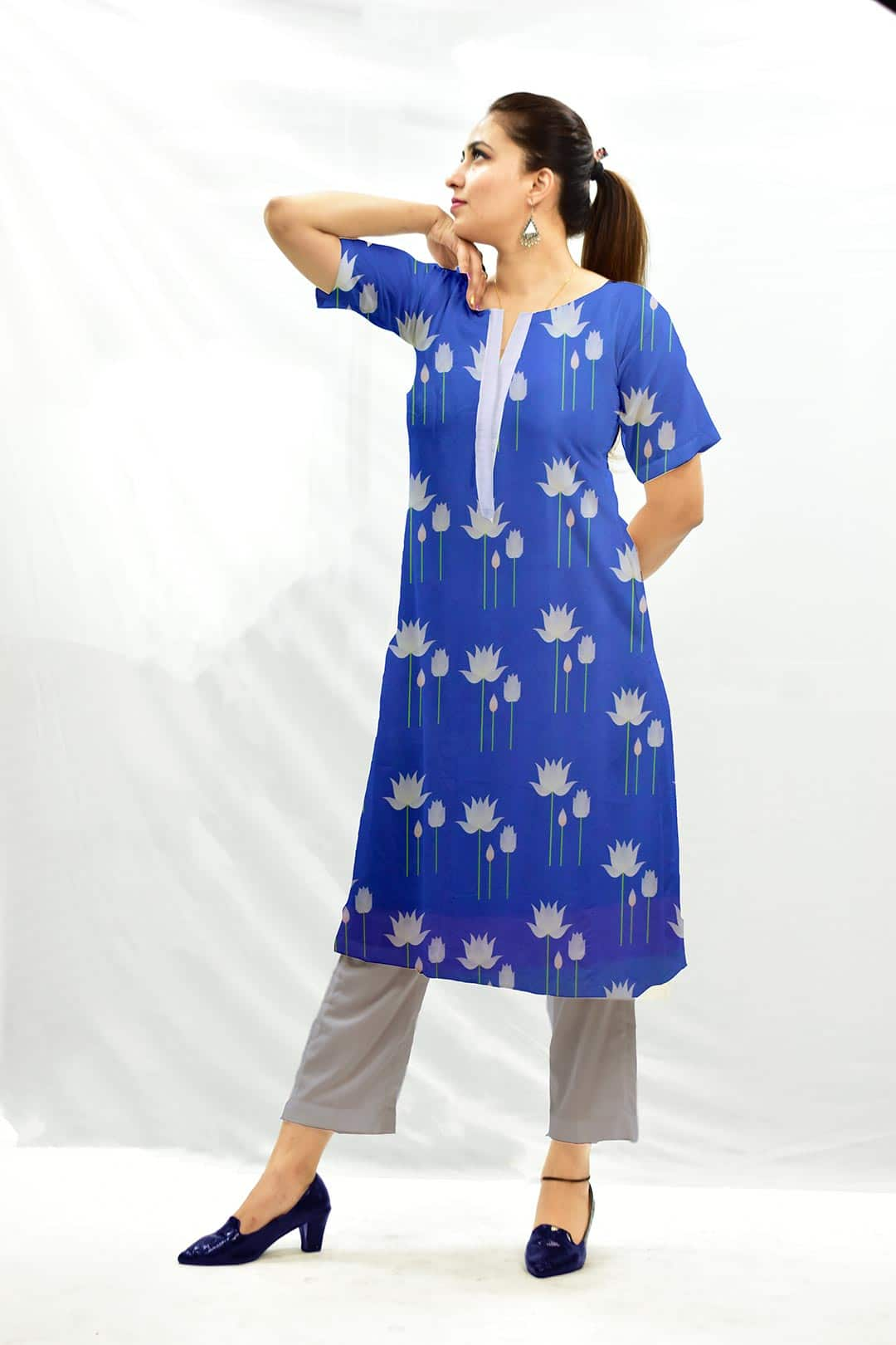 Georgette Pant Suit – Water Lily