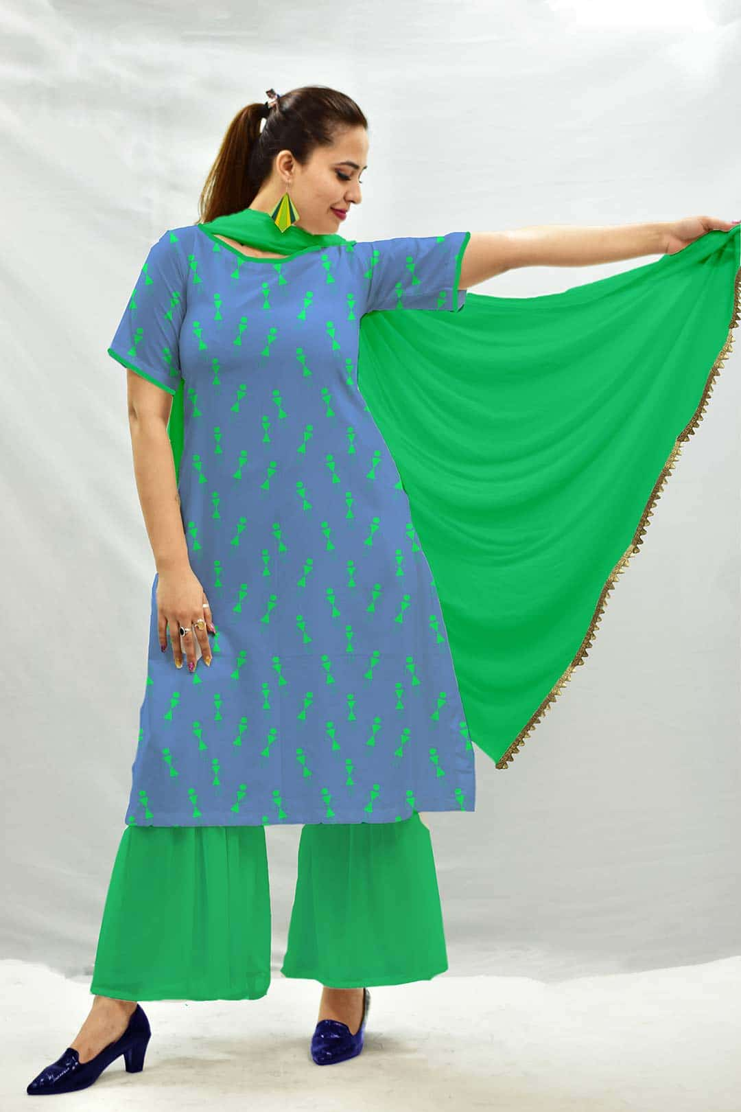 Georgette Sharara Suit with Dupatta – Tribal