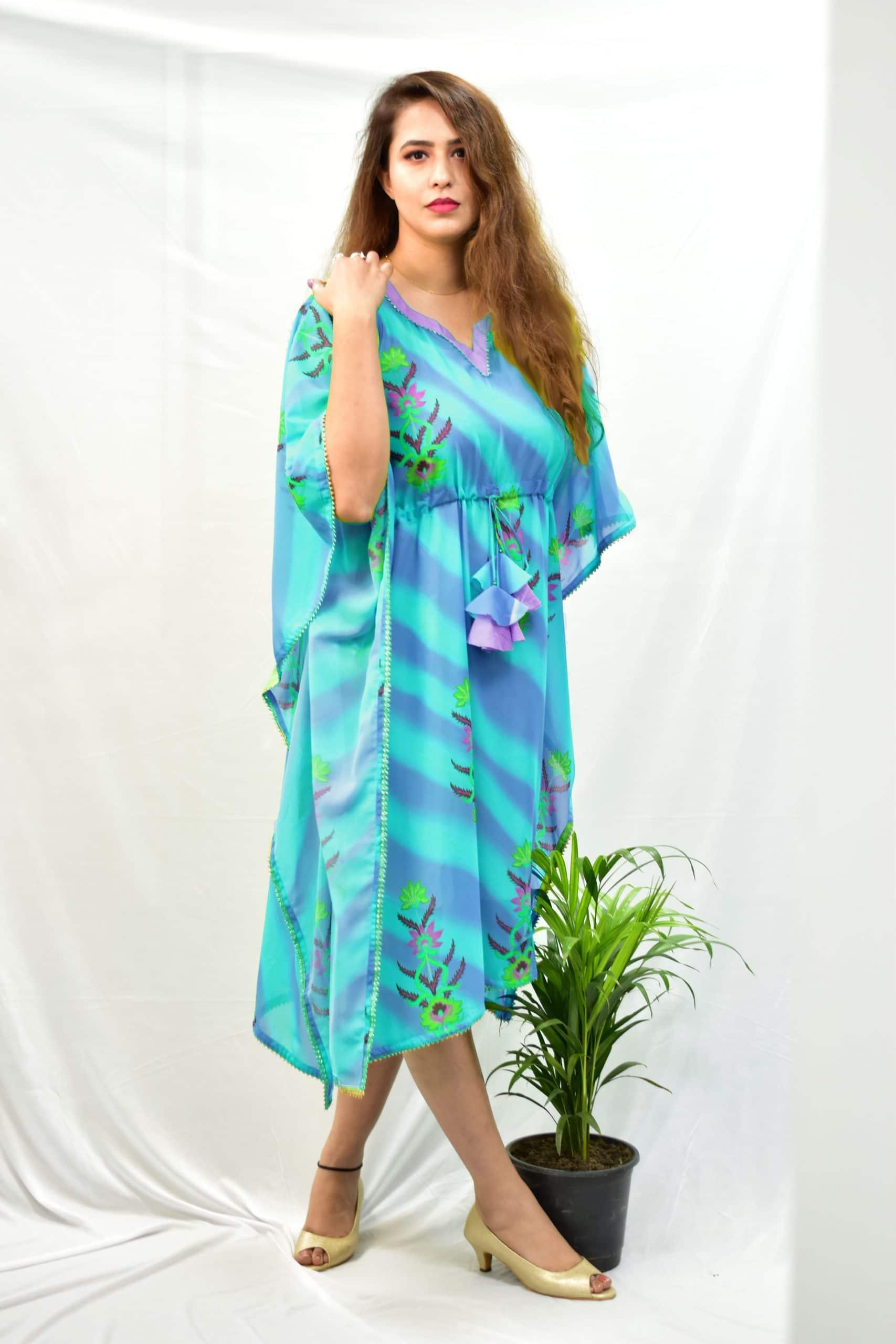 Georgette Kaftan – Leheriya (Cyan)
