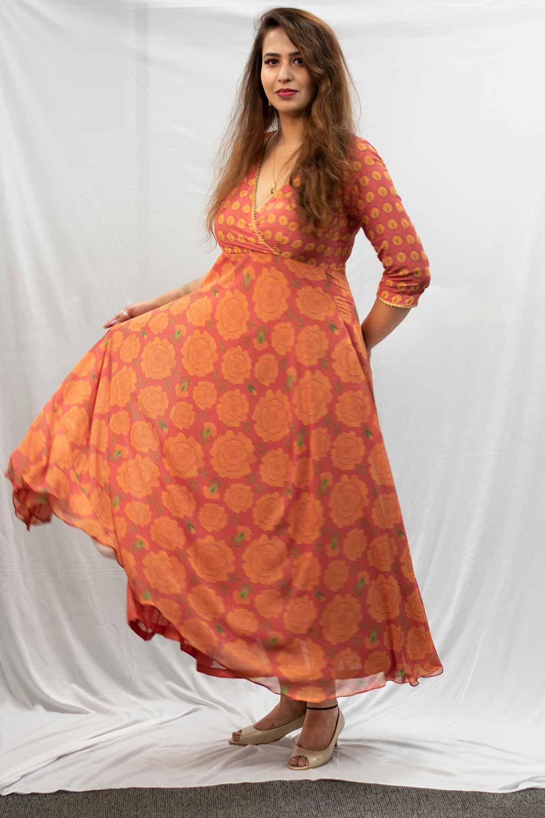 Georgette Anarkali – Mythical Marigold (Red)