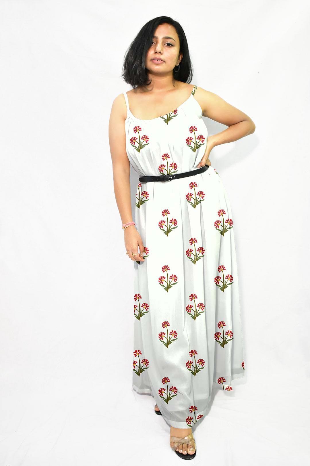 Georgette Gathered Dress – Guldasta