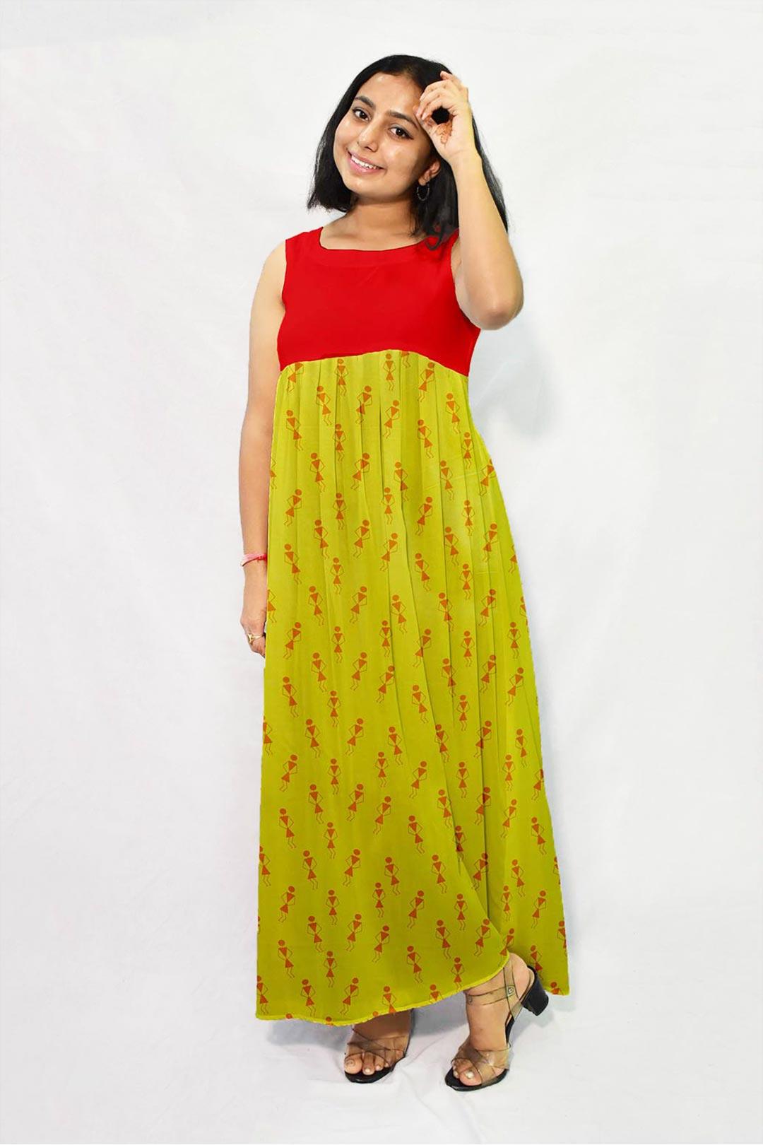 Georgette Frock Style Dress – Tribal