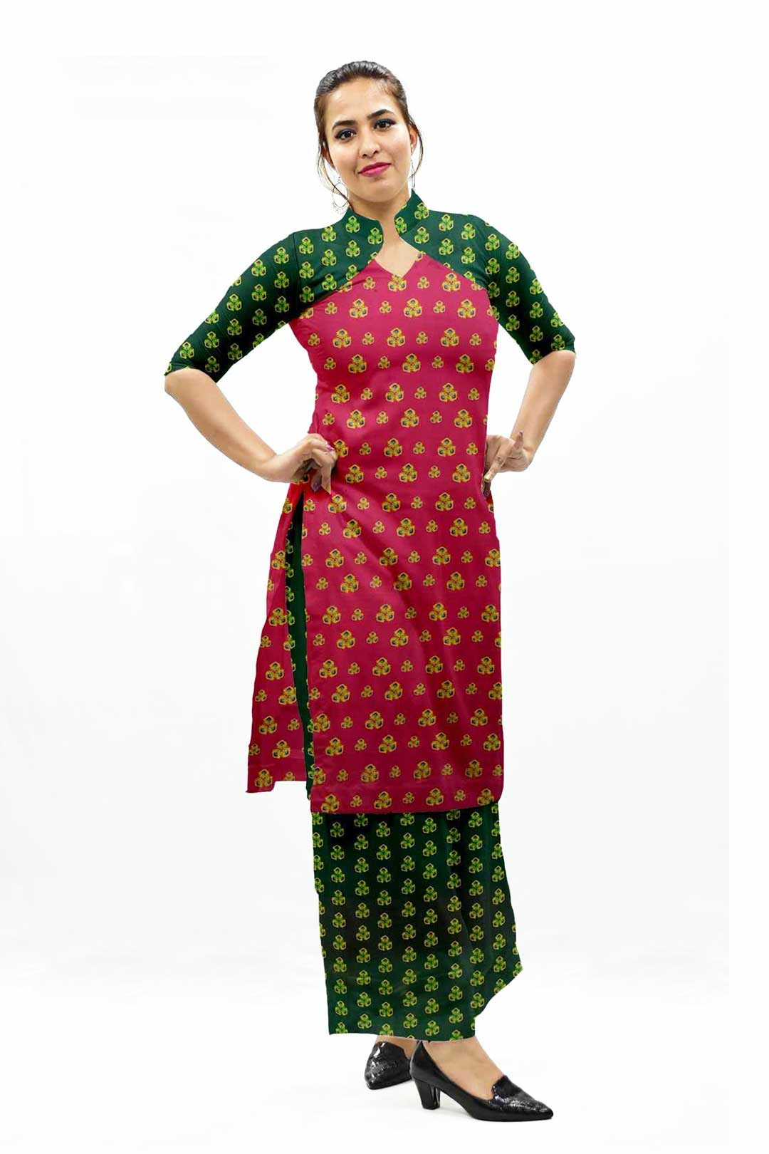 Cotton Palazzo Suit – Pink Spinanch