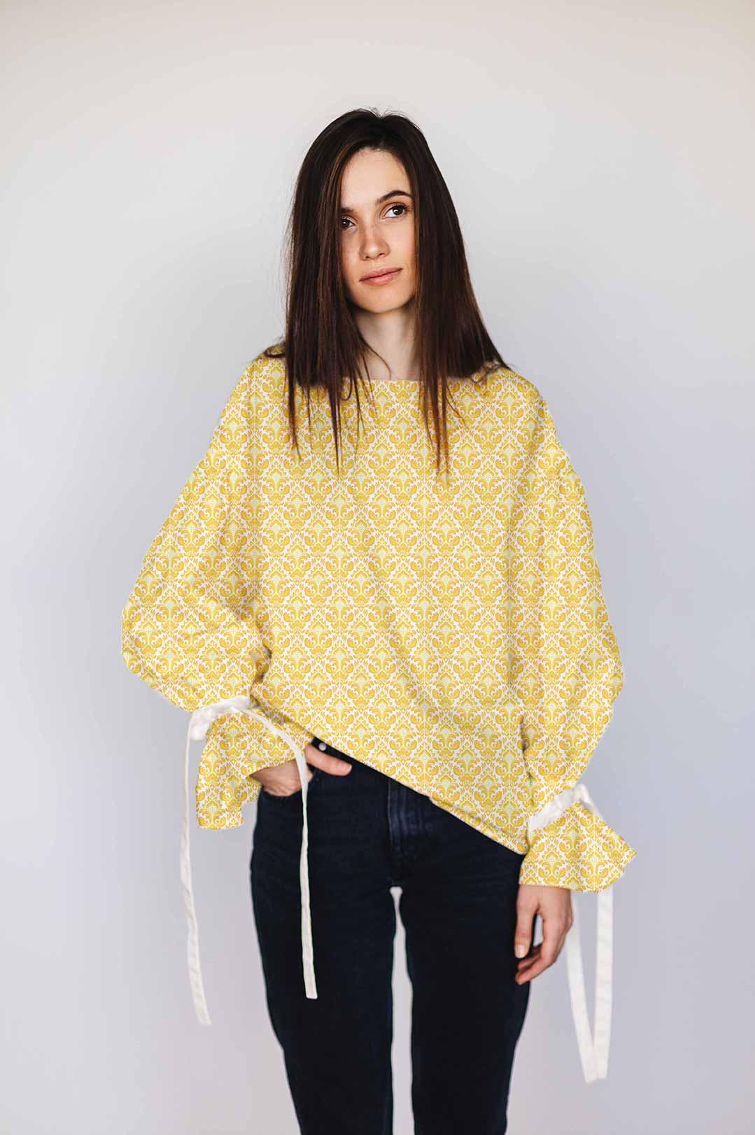 Cotton Shirt Top – Mustard