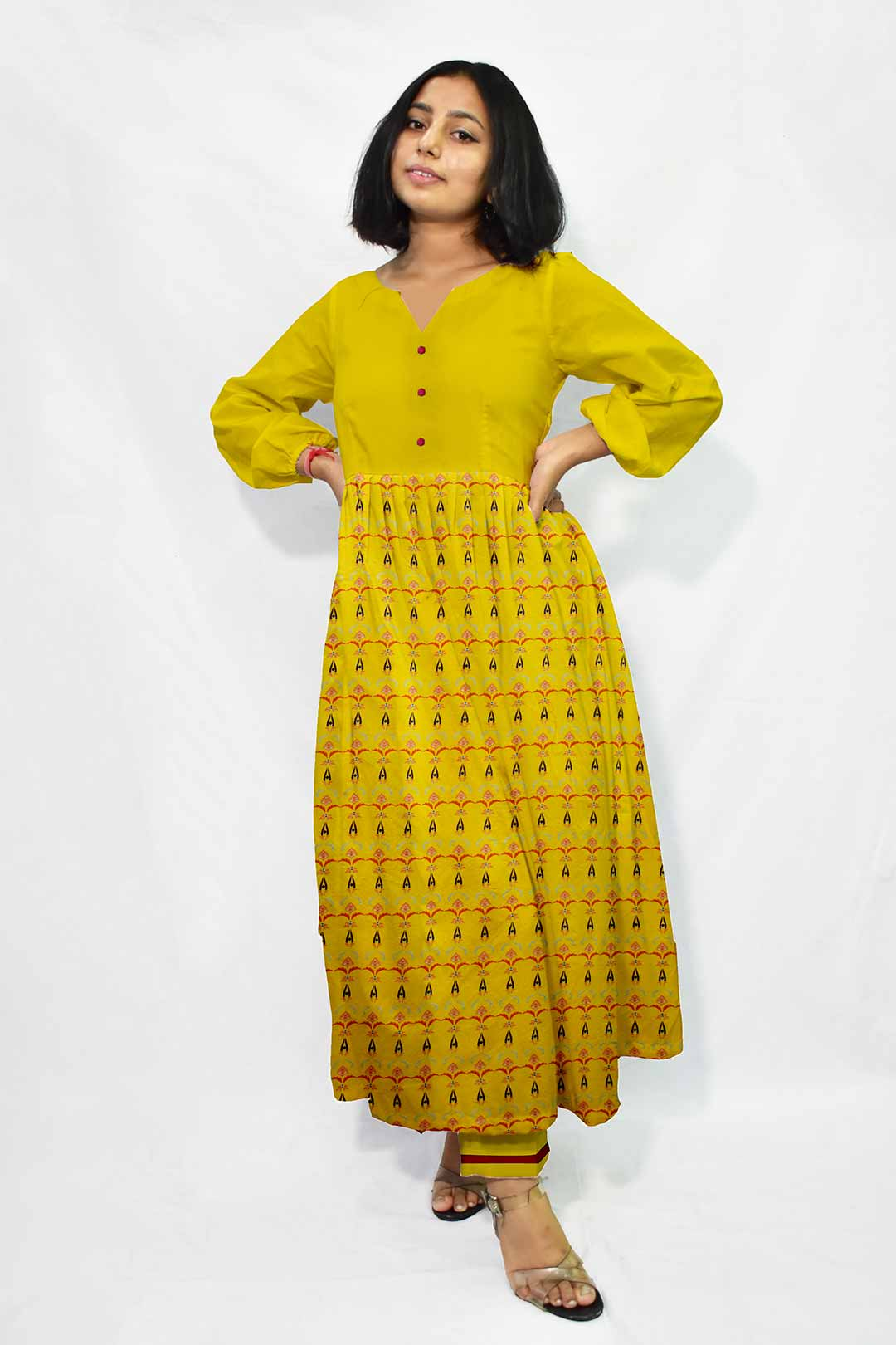 Cotton Frock Style Suit – Amber